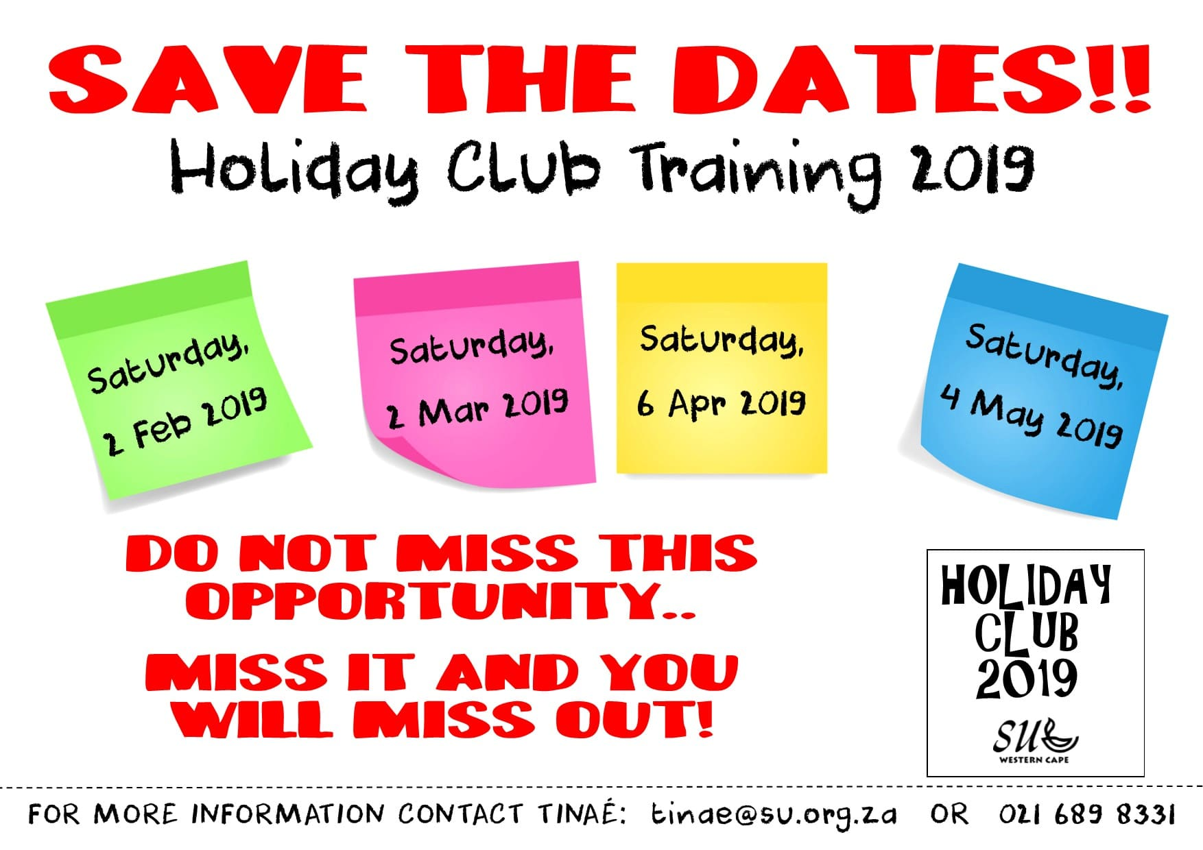 Save the Dates #Trainings